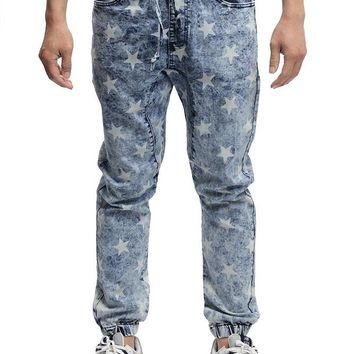Men's Star Print Denim Jogger Pants JG868 - E20D