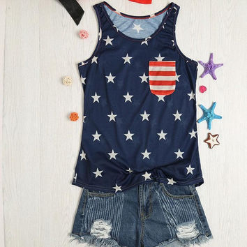 American Flag Star Pocket Printed Tank Top