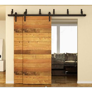 183cm / 200cm / 244cm  Bypass Sliding Barn Wood Door Hardware Interior Sliding Door Black Rustic Sliding Track Roller Set Kit