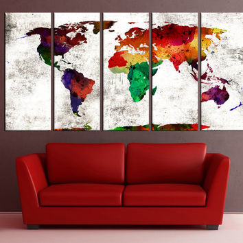 large world map wall art canvas print, world map wall decal wall art canvas, watercolor fineart modern wall decor canvas No:6S35