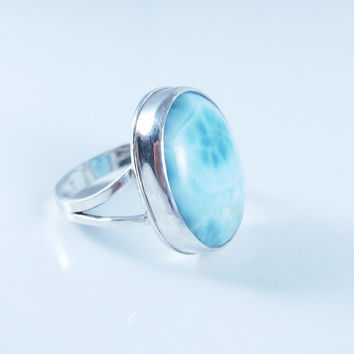 Sterling Silver Larimar Ring, Domimican Republic Ring, Blue Stone Ring, Persian Blue Ring, Atlantis Ring, Volcanic Blue Ring, Size 5.5