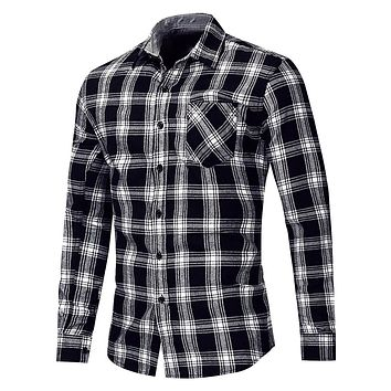 Men's Long Sleeve Button Up Checked Plaid Shirt