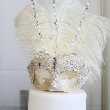 Wedding Masquerade cake topper (Ivory)