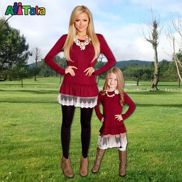 Mommy Baby Doll Dress Burgundy 2017 Mother daughter dresses Fashion black Lace Patchwork long sleeves family matching outfits