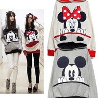 Cute Mickey/ Minnie Mouse Pullover Ear Hoodie