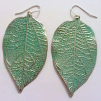 Bohemian Hippie Turquoise Leaf Plated Earrings