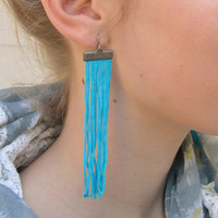 Turquoise long fringe earrings - Turquoise dangle earrings - Turquoise long earrings - Blue fringe earrings - Turquoise Fancy earrings