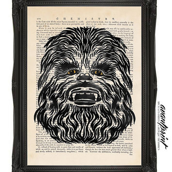 Chewbacca Glowing Waves Original Print on an Unframed Upcycled Bookpage