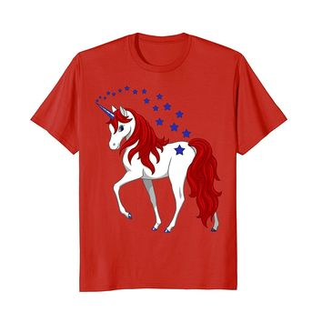Patriotic American Red White Blue Unicorn T-shirt