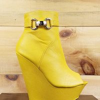 "India Open Toe Platform Wedge Ankle Boot Shoes Yellow - 6.5"" heels"