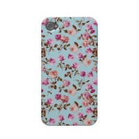 Floral Vintage Fall Roses Iphone 4 Case-mate Cases from Zazzle.com