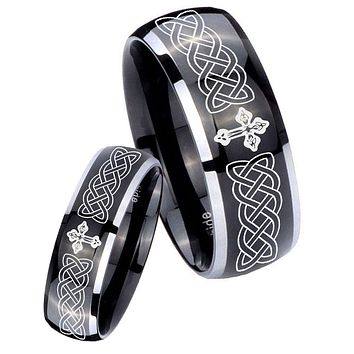 His Hers Gossy Black Dome Celtic Cross 2 Tone Tungsten Wedding Rings Set