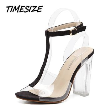 TIMESIZE women gladiator sandals ladies pumps high heels shoes woman Clear Transparent
