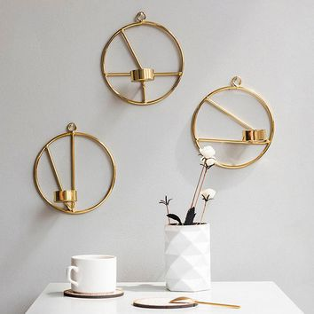 Metal Geometric Circular Candlestick Wall Candle Holder Nordic Style Home Decoration 2018ing