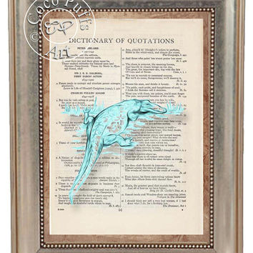 Aqua Alligator Painting Art Beautifully Upcycled Vintage Dictionary Page Book Art Print, Lizard Print
