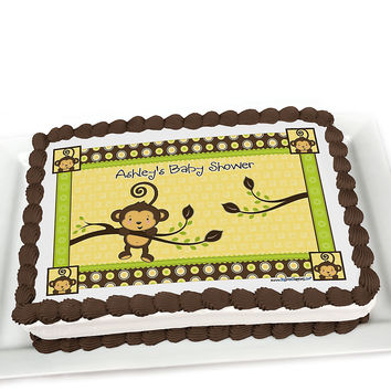 Monkey Neutral - Personalized Baby Shower Cake Topper
