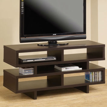 Modern TV Stand with DVD Audio Video Storage Shelves in Cappuccino