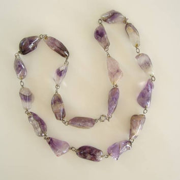 Chunky Semi-Rough Cut Amethyst Necklace 30 inches Gemstone Jewelry