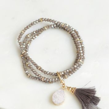 Beaded Stone & Tassel Bracelet Set Grey