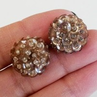 Deco Pink Champagne Sequins Seed Bead Screw Back Earrings