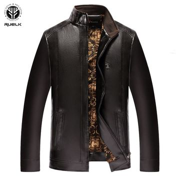 RUELK Men Leather Suede Jacket Fashion Autumn Motorcycle PU Leather Male Winter Bomber Jackets Outerwear Faux Leather Coat