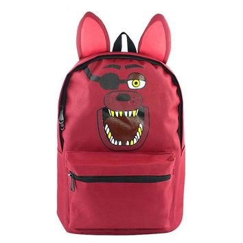 Anime Backpack School MeanCat Five Nights at Freddy's kawaii cute Cartoon Backpack Brown Bear Purple Rabbit Red Fox Yellow Duck for School Cosplay AT_60_4