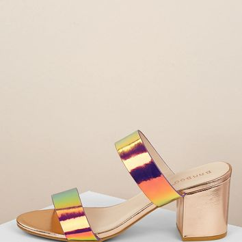 Double Iridescent Band Low Block Heel Sandals