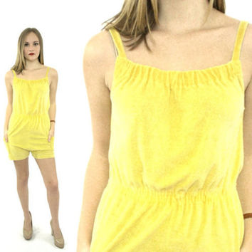 Vintage 80s Beach Surfer Girl Yellow Cute Romper