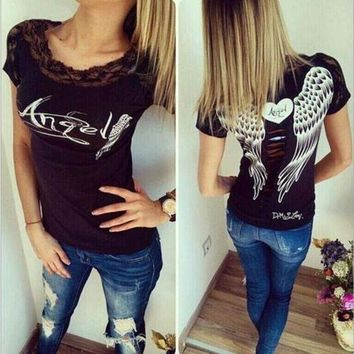 PEAP2Q angel wings lace t shirt printing