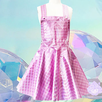 Punk Pink checker suspender Hologram Holographic galaxy Sparkle Flare Skater Dress music Festival skirt Gothic rainbow purple cyber gothic
