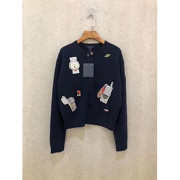 Louis Vuitton Lv Embroidered Badge Dark Blue Cashmere Long Sleeve Cardigan Sweater #1959