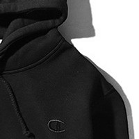 Champion autumn and winter small logo embroidered men and women hoodie hooded sweater coat Black