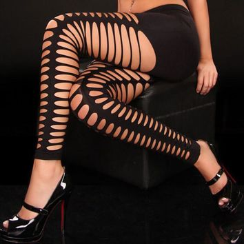 Hollow Out Leggings - Goth Punk Fitness