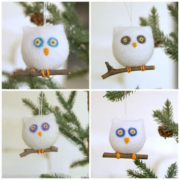 Felt Christmas Ornament, Owl, Needle Felted Wool, Woodland Barn Owl, Snow White, Winter Wonderland, Natural, Eco Friendly, Bird, Cute, Wood