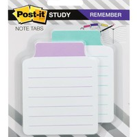 Post-it Note Tabs, White Index Stock with Lavender or Aqua Print, 3-3/8-Inches x 2-3/4-Inches, White Index Stock with Lavender/Aqua Print, 2-Pads/Pack