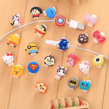 10pcs Cute Cartoon USB Charger Cable Earphone Cable Protector For iphone 5 5s 6 7 Headphone cable saver Protection