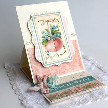 Graphic 45 Easter Greeting Card, Easter Egg Card, Paper handmade greeting card, Spring Card 3D pop up card and Gift card holder