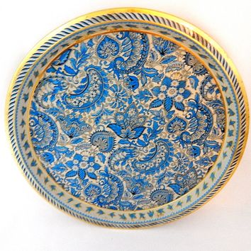 Beverage Serving Tray Vienna Woods Blue Gold Paisley Metal Vintage 1960's Home Bar Cottage Chic