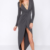 LULUS Exclusive Ready or Knotty Grey Long Sleeve Dress