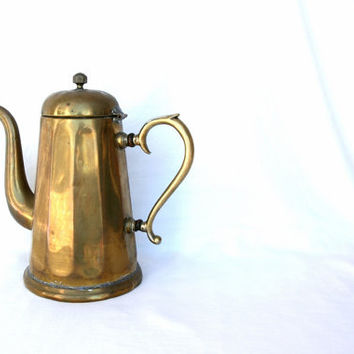 French country kitchen antique coffee pot, brass teapot, French country home, French farmhouse, French coffee pot