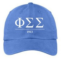 Phi Sigma Sigma Letters Year Embroidered Hat + Low Price