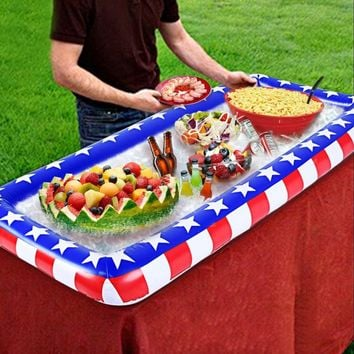 130cm Giant American Flag Inflatable Drink Holder Tray Salad Bar Cooler Buffet Swimming Pool Accessory Beach Water Party Toys