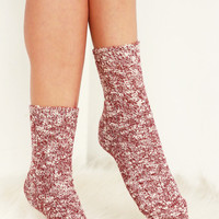 Autumn Breeze Boot Socks - Burgundy