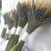 Lavender and Wheat Bouquet for Country, Farm, Vintage Chic Wedding Eco-friendly Keepsake for bride and bridesmaids