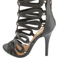 Studded & Looped Strappy Gladiator Heels