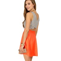 Promo-coral Striped Skater Dress