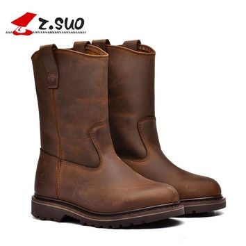 Z.Suo men's boots. Leather men motorcycle boots, high-quality in-tube retro fashion western boots man botas hombre zsgty16009