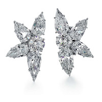 Cartier Diamond and Platinum Cluster Earrings