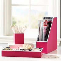 Preppy Paper Desk Accessories - Solid Pink