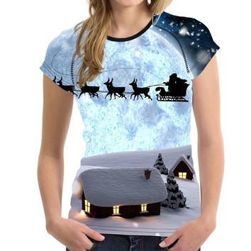 Galaxy Moon Deer Print Women T-shirt Bodybuilding Female Tshirts Brand Merry Christmas Gift Short Sleeve Top Clothes